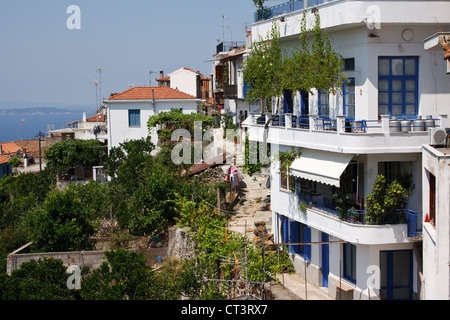 Greek Restaurant With Blue Doors And Windows In Little