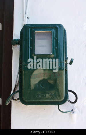 Electricity meter of the type found in the Greek islands. - Stock Photo