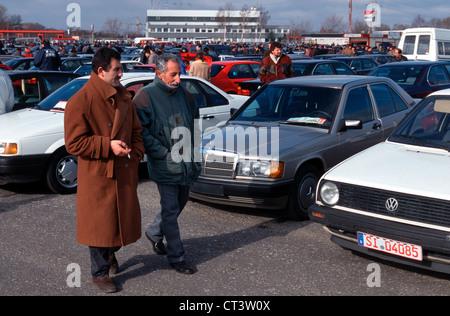 Private Car Market in Essen-Bergeborbeck - Stock Photo