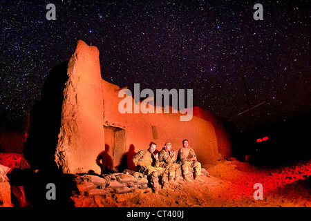 US Army paratroopers with the 82nd Airborne Division look out at the night sky at Joint Security Station Hasan June - Stock Photo