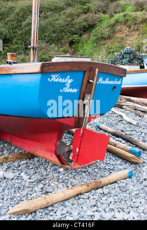 Stern detail of small colorful fishing boat - Stock Photo