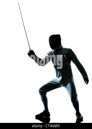one man fencing silhouette in studio isolated on white background - Stock Photo