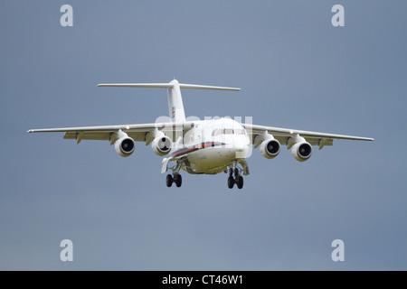 BAe 146 of the RAF Royal Flight on approach to land. RAF Waddington 2012 - Stock Photo