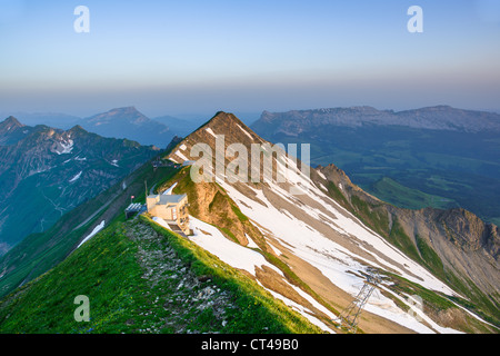 Panoramic view of mountain sunrise from Brienzer Rothorn, Berner Oberland, Switzerland - Stock Photo