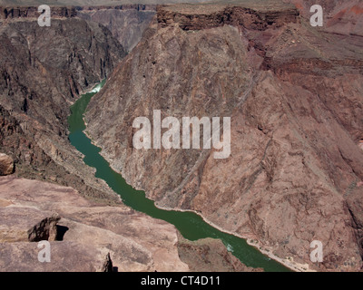 View from Plateau Point of the Colorado River flowing through the Grand Canyon - Stock Photo