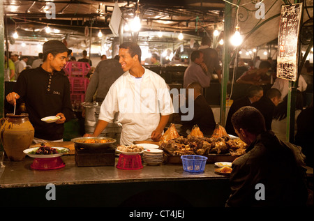 Street food in in Djemaa el Fna square at night, Marrakech Morocco Africa - Stock Photo
