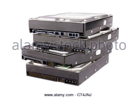 Stack of hard drives - Stock Photo