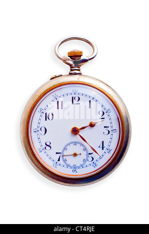 19th Century pocket watch, showing signs of age, isolated on white. Concepts of nostalgia, sense of time,ageing,time - Stock Photo