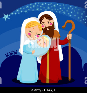 Jesus, Mary and Joseph under the shining star of Bethlehem nativity scene - Stock Photo
