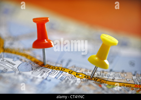 Pushpin on map - Stock Photo