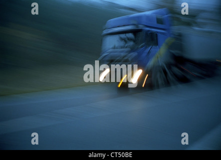 A truck on a country road in Brandenburg - Stock Photo