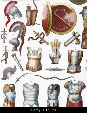 Roman army. Armors and weaponry. Colored engraving. 19th century. - Stock Photo