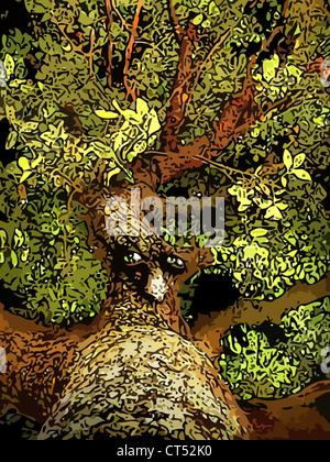Illustration (semi vector) of an anthropomorphic tree. This is part of a series called 'march of the Huorns'. - Stock Photo