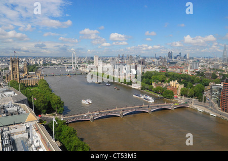 Skyline of London as seen from The Millbank Tower - Stock Photo