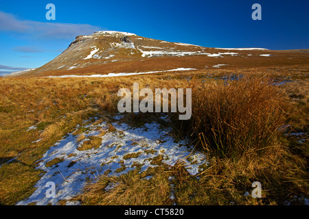 Ingleborough, one of Yorkshire's famous three peaks, seen from White Scars - Stock Photo