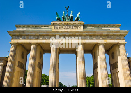 Brandenburg gate Pariser Platz with the winged Quadriga statue on top Berlin city centre Germany EU Europe - Stock Photo