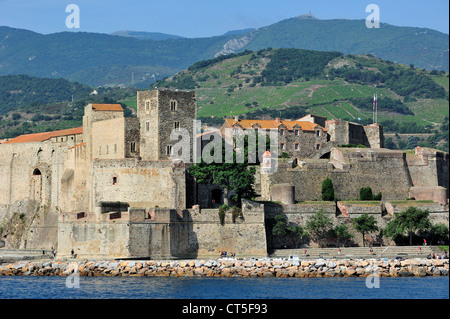 The fort Château royal de Collioure, Pyrénées-Orientales, Pyrenees, France - Stock Photo