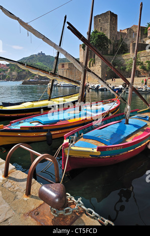 Traditional colourful fishing boats for fishing anchovies in the harbour at Collioure, Pyrénées-Orientales, Pyrenees, - Stock Photo