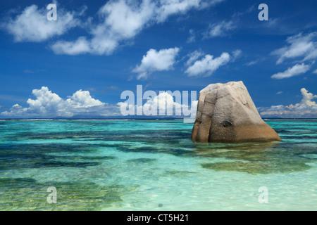 Anse Source D'Argent, La Digue, Seychelles, Indian Ocean on La Digue in the Seychelles - Stock Photo