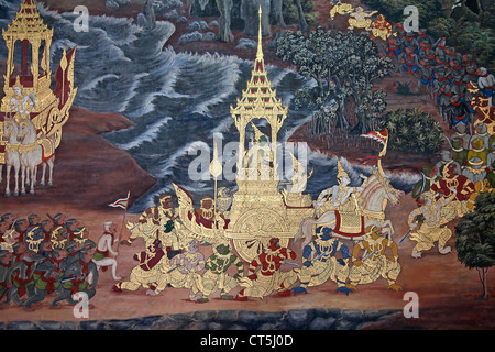 Mural painting on the walls of emerald buddha temple in for Buddha mural art