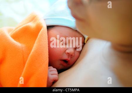 MOTHER AND NEWBORN BABY - Stock Photo