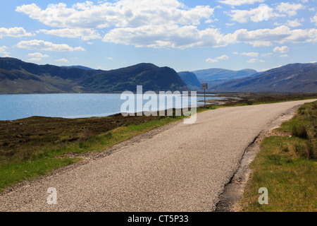 Single track country north coast 500 on North and West Highlands Tourist Route around Loch Eriboll Sutherland Highland - Stock Photo