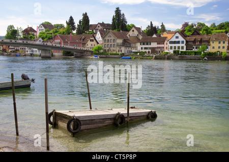 Mooring for boats on the river Rhine. Stein Am Rhein. Switzerland. Europe - Stock Photo