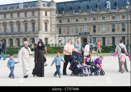 Paris, France - An Arab family sightseeing - Stock Photo