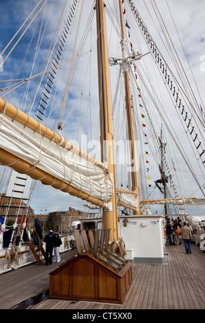 On board Santa Maria Manuela, Tall ships race 1, St Malo, France 2012 - Stock Photo