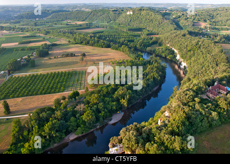 Aerial view of the Dordogne river and surrounding countryside near Sarlat in the Dordogne-Perigord region of south - Stock Photo