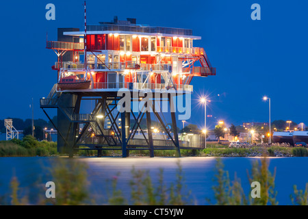 Amsterdam REM eiland, REM island restaurant. A former North Sea pirate TV station now in the Amsterdam harbor, harbour - Stock Photo