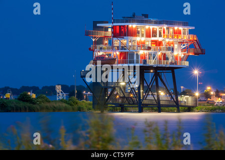 Amsterdam REM-eiland, REM-island restaurant. A former North Sea pirate TV station now in the Amsterdam harbor, harbour - Stock Photo