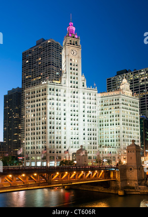 Night-time view of the Michigan Avenue Bridge (officially DuSable Bridge) and the Wrigley building in Chicago, Illinois, - Stock Photo