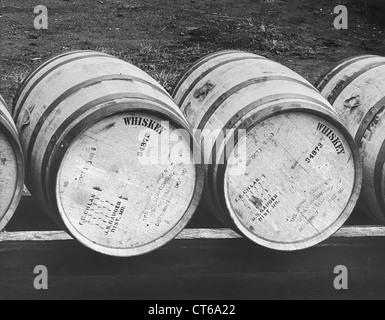 Close-up of bonded whiskey barrels - Stock Photo