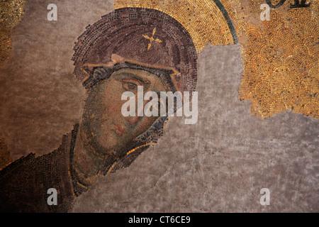Close up of The Theotokos, Deesis mosaic, Hagia Sophia, Sultanahmet, Istanbul, Turkey - Stock Photo