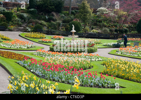 Sunken formal garden known as The Dingle, within The Quarry Park on the bank of the River Severn at Shrewsbury - Stock Photo