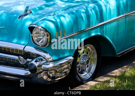 Part of a 1957 Chevrolet Bel Air. This historic vehicle has been immaculately restored. - Stock Photo