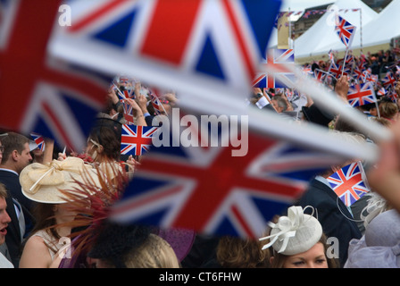 Royal Ascot singing 'Land of Hope and Glory' around the band stand at the end of the days  horse racing Ascot HOMER - Stock Photo