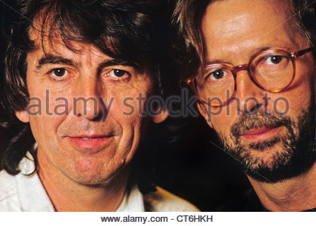 George Harrison and Eric Clapton photographed in London in 1991 - Stock Photo