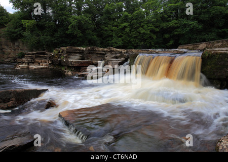 Waterfalls, river Swale; Richmond town; North Yorkshire, England, United Kingdom - Stock Photo