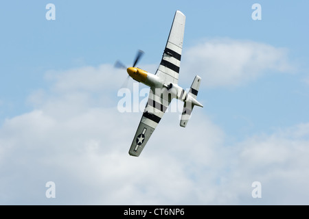 Norht American Mustang P51D demonstrating at the Goodwood Revival - Stock Photo