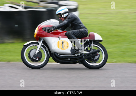 Motorsport legend John Surtees, the only man to be world champion on two wheels and four, demonstrating at the Goodwood - Stock Photo