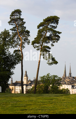 View from the three acorns (trois glands) in the quarter Kirchberg of the old town of Luxembourg City - Stock Photo
