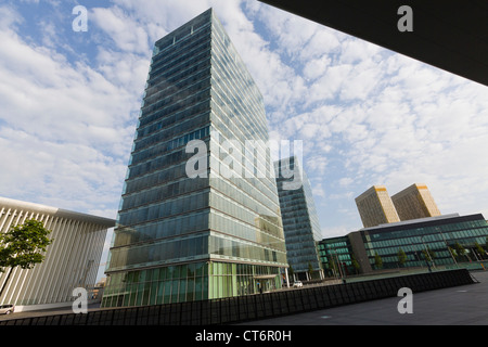 Philharmonie, twin towers and towers with offices of the european court of justice - Stock Photo