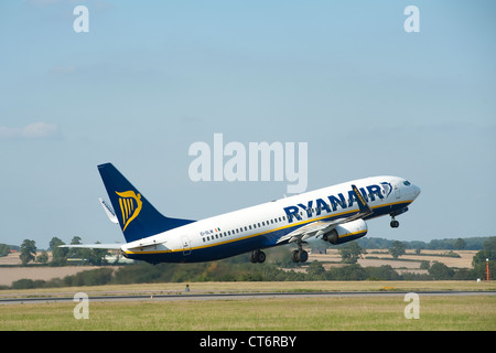 Ryanair Boeing 737-8AS taking off at Luton Airport, England. - Stock Photo