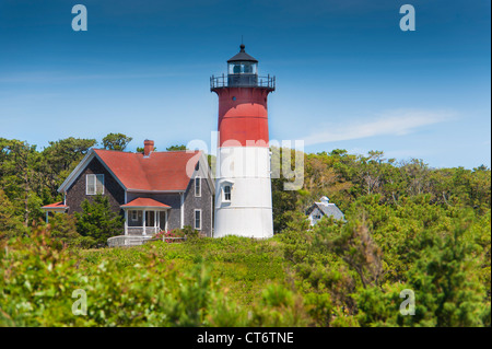 Nauset lighthouse in Eastham, Cape Cod, Massachusetts, USA - Stock Photo