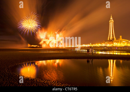 Fireworks from the north Pier during 'Blackpool illuminations' Blackpool Lancashire England GB UK EU Europe - Stock Photo