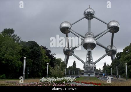 The Atomium building in Brussels, Belgium - Stock Photo