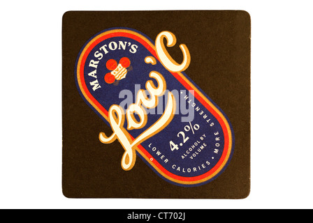 Beer Mat / drip mat - Marston's Brewery, Burton upon Trent, England featuring an advert for low calorie beer. - Stock Photo