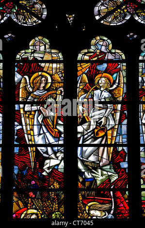 Liege, Belgium. Cathedrale St Paul. Stained glass window. Angels playing music - Stock Photo